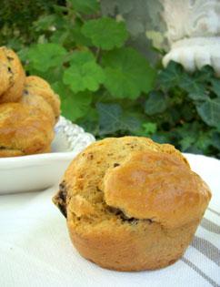 Muffins tomatés aux aubergines & olives noires