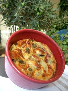 Clafoutis aux artichauts & olives cassées des Baux de Provence