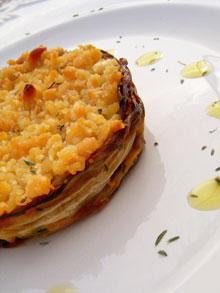 Flans d'endives au thym, crumble-isés aux pignons & pecorino