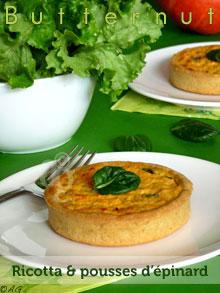 Tartelettes à la courge Butternut, ricotta & pousses d'épinard