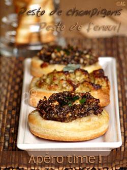 Feuilletés d'apéritif au pesto de champignons ou pesto de fenouil