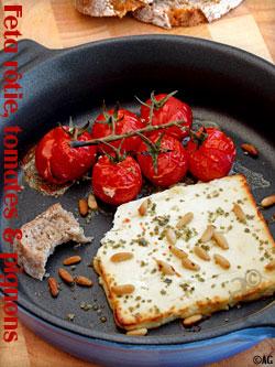 Feta rôtie, tomates cerise & pignons