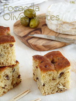 Focaccia aux olives vertes & petit épeautre