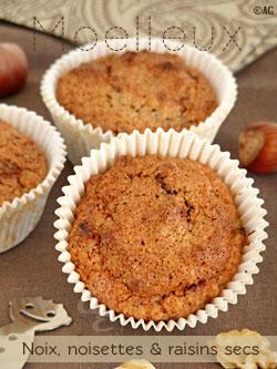 Moelleux aux noix, noisettes & raisins secs … Et une petite touche de chocolat
