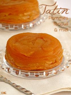 Tatin aux pommes, fenouil poché aux épices & miel