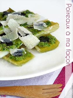 Poireaux au pesto de ciboulette, crème de balsamique & copeaux de parmesan