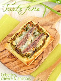 Tarte fine aux cébettes, fromage de chèvre & anchois
