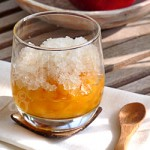 Granité à la verveine & nectarines poêlées au miel