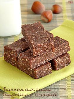 barres aux dates, noisettes et chocolat