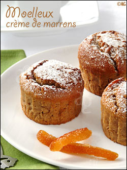Moelleux à la crème de marrons, amande & écorces d'orange confite