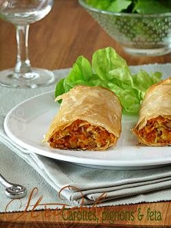 « Strudel » aux carottes, pignons & feta