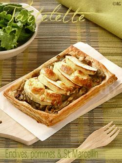 Tartelette fine aux endives, pommes & Saint Marcellin