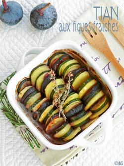 Tian de courgettes, pommes de terre & figues fraîches