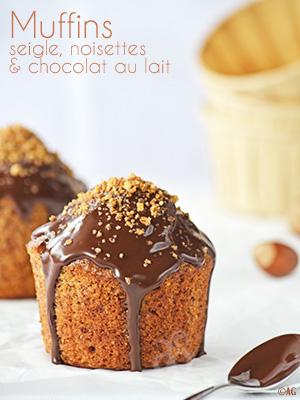 Muffins à la farine de seigle, noisettes & chocolat au lait pour le Muffin Monday