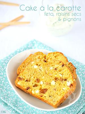 Cake à la carotte, feta, raisins secs & pignons