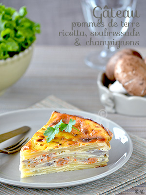 Gâteau de pommes de terre à la ricotta, soubressade & champignons