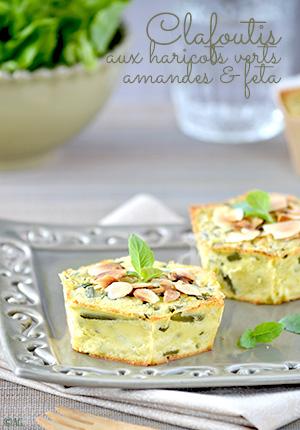 Clafoutis aux haricots verts, amandes & feta