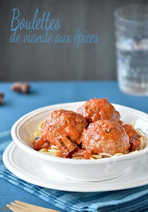Boulettes de viande aux épices & sauce tomate aux aubergines