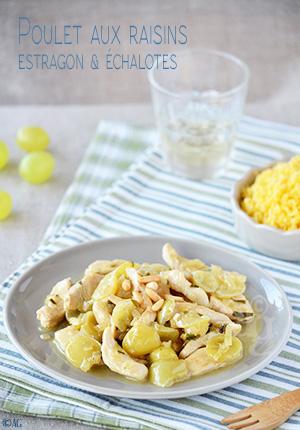 Poulet aux raisins, estragon & échalotes