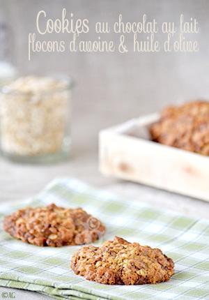 Cookies au chocolat au lait, flocons d'avoine & huile d'olive