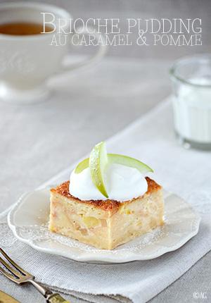 Brioche pudding au caramel & pomme