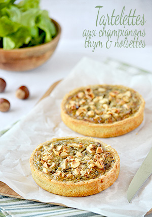 Tartelettes aux champignons, thym & noisettes