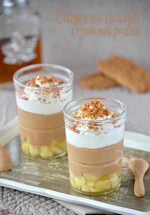Crèmes au caramel & pommes poêlées