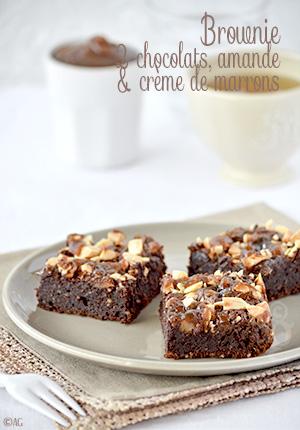 Brownie aux 2 chocolats, amande & crème de marrons