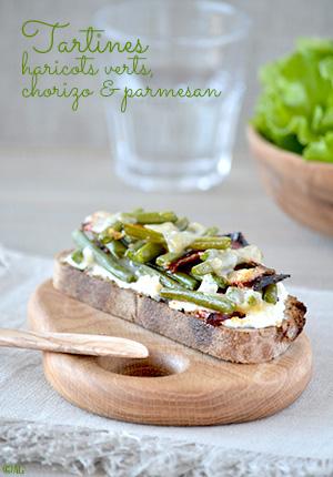 Tartines de haricots verts, chorizo & parmesan