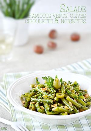Salade de haricots verts aux olives, ciboulette & noisettes
