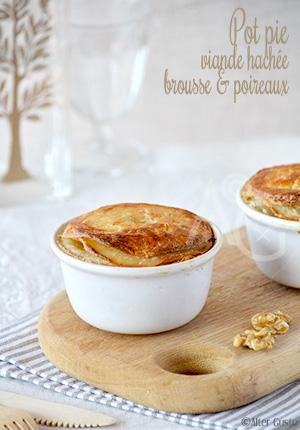 Pot Pie à la viande hachée, brousse & poireaux