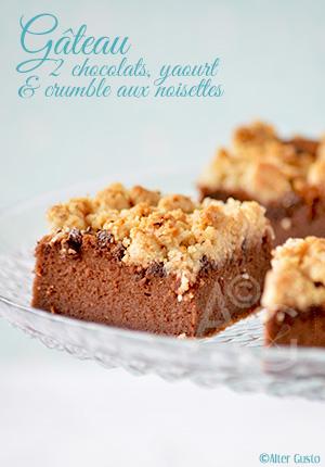 Gâteau aux 2 chocolats, yaourt grec & crumble aux noisettes