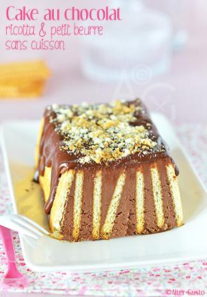 Cake au chocolat, ricotta & petit beurre (sans cuisson)