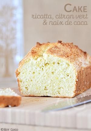 Cake à la ricotta, citron vert & coco
