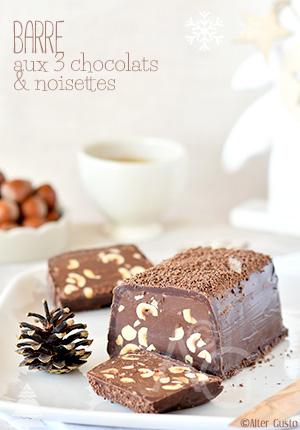 Barre très chocolatée aux 3 chocolats & noisettes