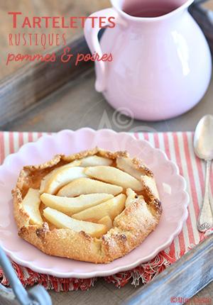 Tartelettes rustiques aux pommes & poires – Pâte brisée au yaourt & huile d'olive