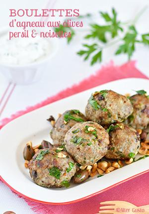 Boulettes d'agneau aux olives, persil & noisettes