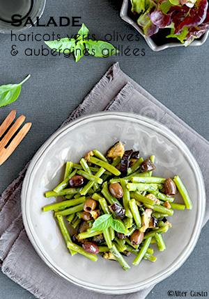 Salade de haricots verts, olives & aubergines grillées