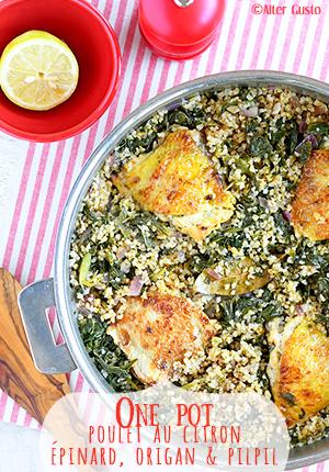Poulet au citron, épinard, origan & pilpil – One pot