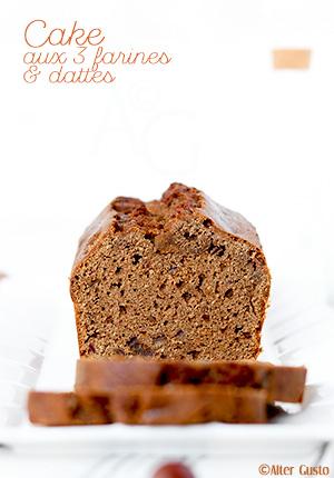 Cake aux 3 farines & dattes (châtaigne, sarrasin et blé)
