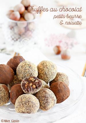 Truffes au chocolat noir, petits-beurre & noisette