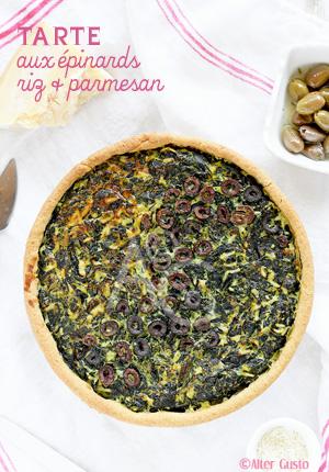 Tarte aux épinards, riz & parmesan