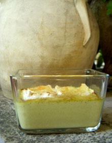 Crème brûlée aux brocolis « caramélisée » au camembert