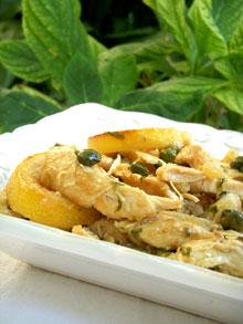 Fausse Piccata de poulet aux câpres, coriandre & citrons rôtis