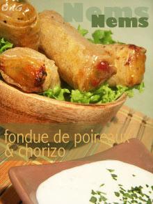 Nems de fondue de poireaux au chorizo