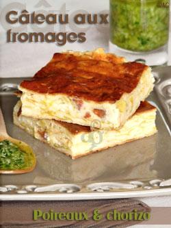 Gâteau aux fromages, poireaux & chorizo – Pesto de ciboulette