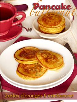 Pancakes à la courge Butternut, zestes d'orange & cardamome