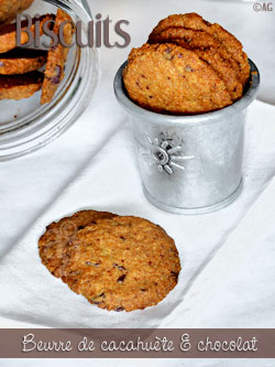 Biscuits au beurre de cacahuète & chocolat (sans farine)