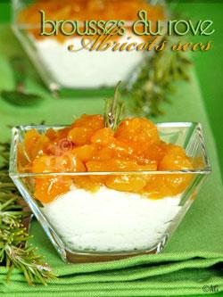 Compotée d'abricots secs infusés au romarin & brousses du Rove