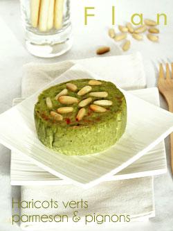 Flan aux haricots verts, parmesan & pignons